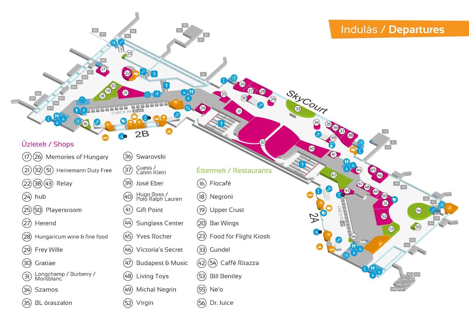 Схема аэропорта Будапешта Терминал 2
